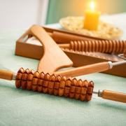 A variety of wooden massage rollers and self-massage tools
